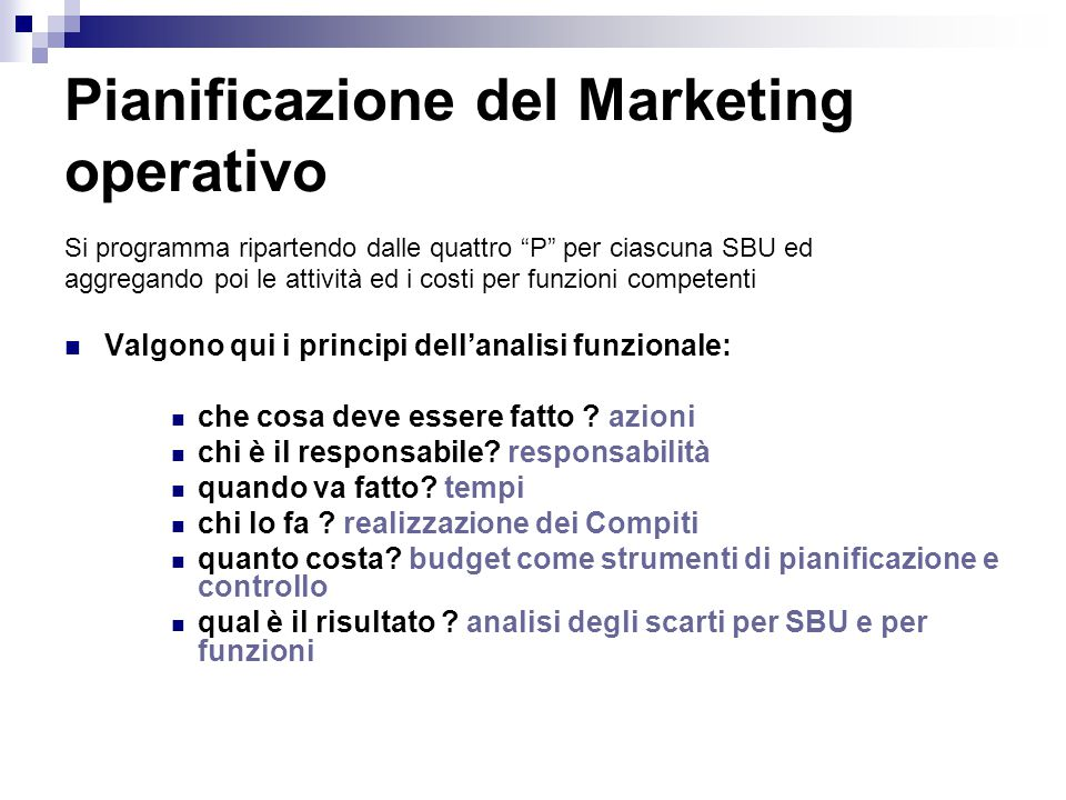 Pianificazione del Marketing operativo