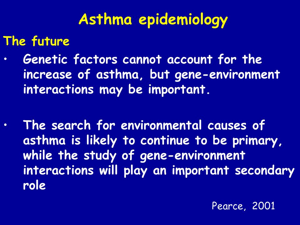 Asthma epidemiology The future