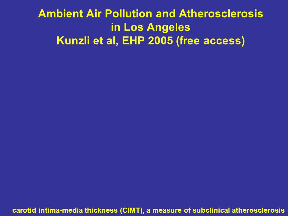 Ambient Air Pollution and Atherosclerosis in Los Angeles Kunzli et al, EHP 2005 (free access)