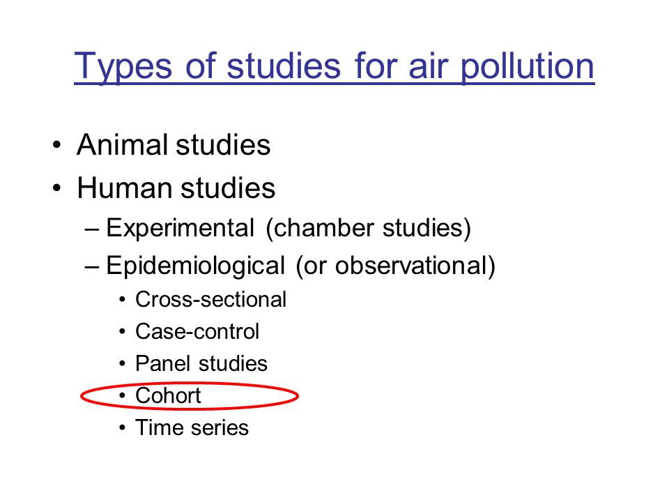 Types of studies for air pollution