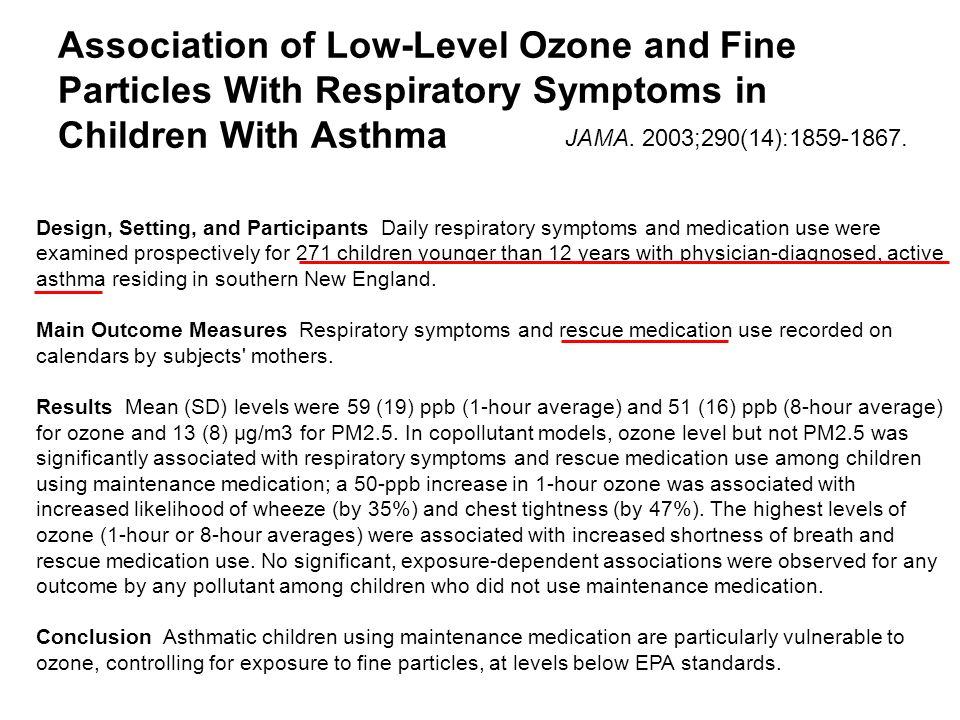 Association of Low-Level Ozone and Fine Particles With Respiratory Symptoms in Children With Asthma