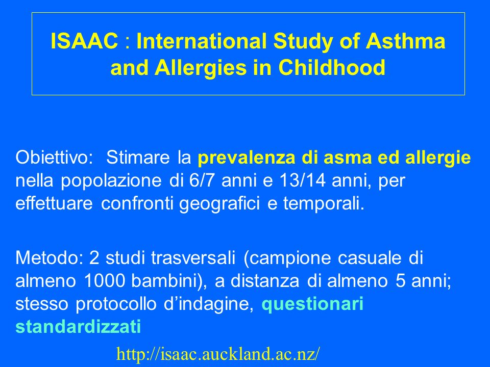 ISAAC : International Study of Asthma and Allergies in Childhood