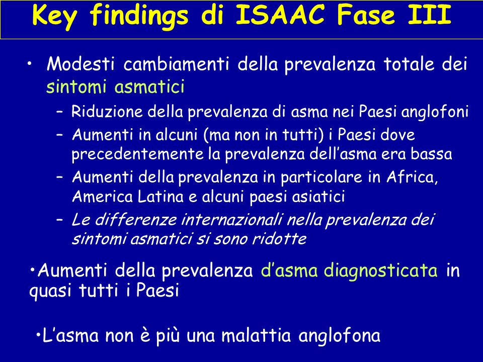 Key findings di ISAAC Fase III