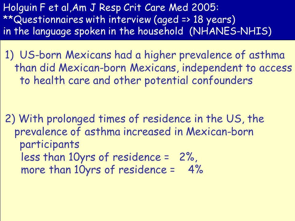 US-born Mexicans had a higher prevalence of asthma