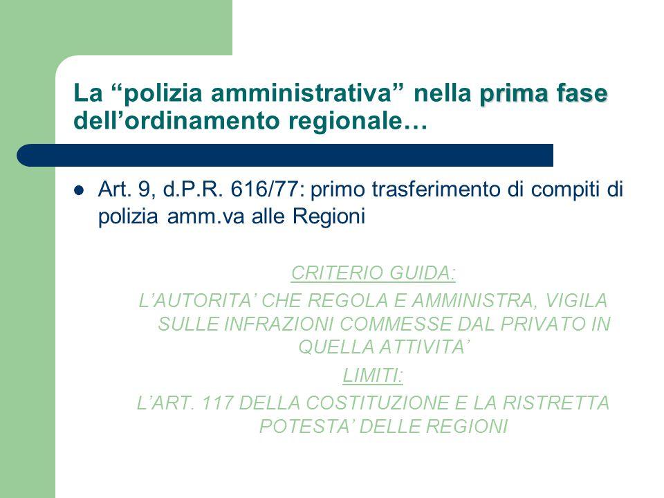L'ART. 117 DELLA COSTITUZIONE E LA RISTRETTA POTESTA' DELLE REGIONI
