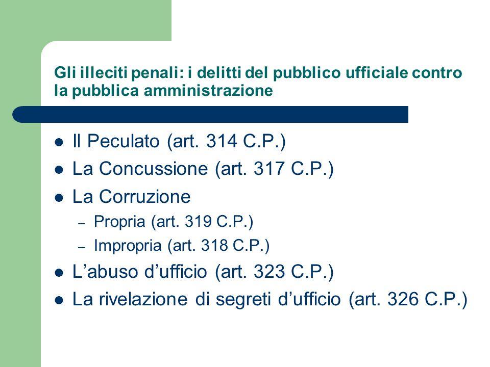 La Concussione (art. 317 C.P.) La Corruzione