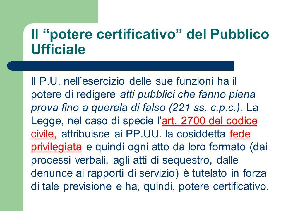 Il potere certificativo del Pubblico Ufficiale