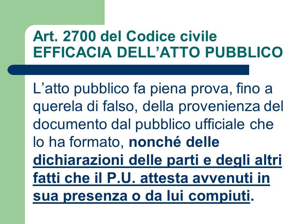 Art. 2700 del Codice civile EFFICACIA DELL'ATTO PUBBLICO