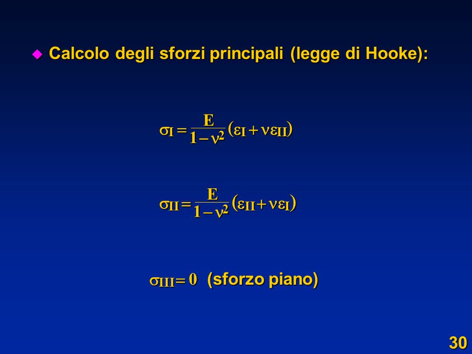     Calcolo degli sforzi principali (legge di Hooke):     E 