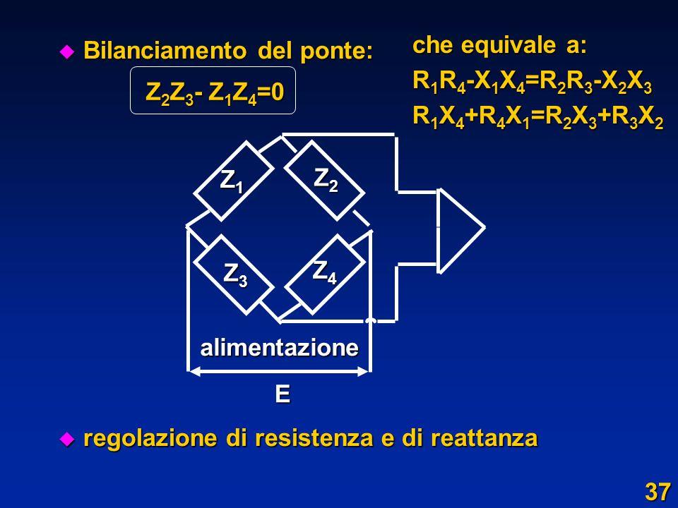 che equivale a:R1R4-X1X4=R2R3-X2X3. R1X4+R4X1=R2X3+R3X2. Bilanciamento del ponte: regolazione di resistenza e di reattanza.