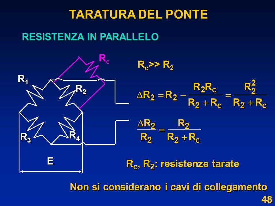 TARATURA DEL PONTE RESISTENZA IN PARALLELO E R2 R3 R4 Rc R1
