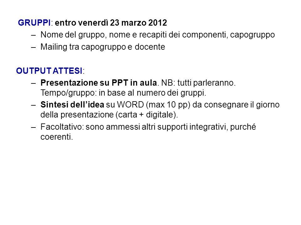 GRUPPI: entro venerdì 23 marzo 2012