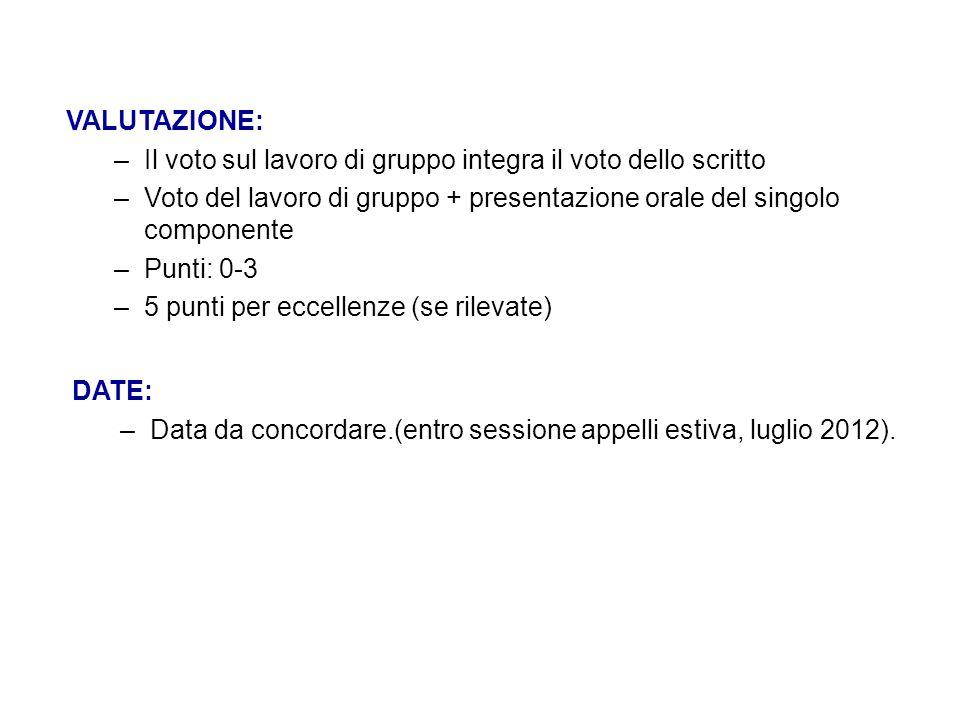 VALUTAZIONE: Il voto sul lavoro di gruppo integra il voto dello scritto. Voto del lavoro di gruppo + presentazione orale del singolo componente.