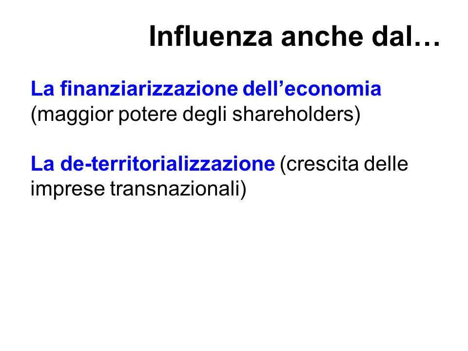 Influenza anche dal… La finanziarizzazione dell'economia (maggior potere degli shareholders)