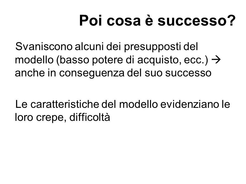 Poi cosa è successo Svaniscono alcuni dei presupposti del modello (basso potere di acquisto, ecc.)  anche in conseguenza del suo successo.