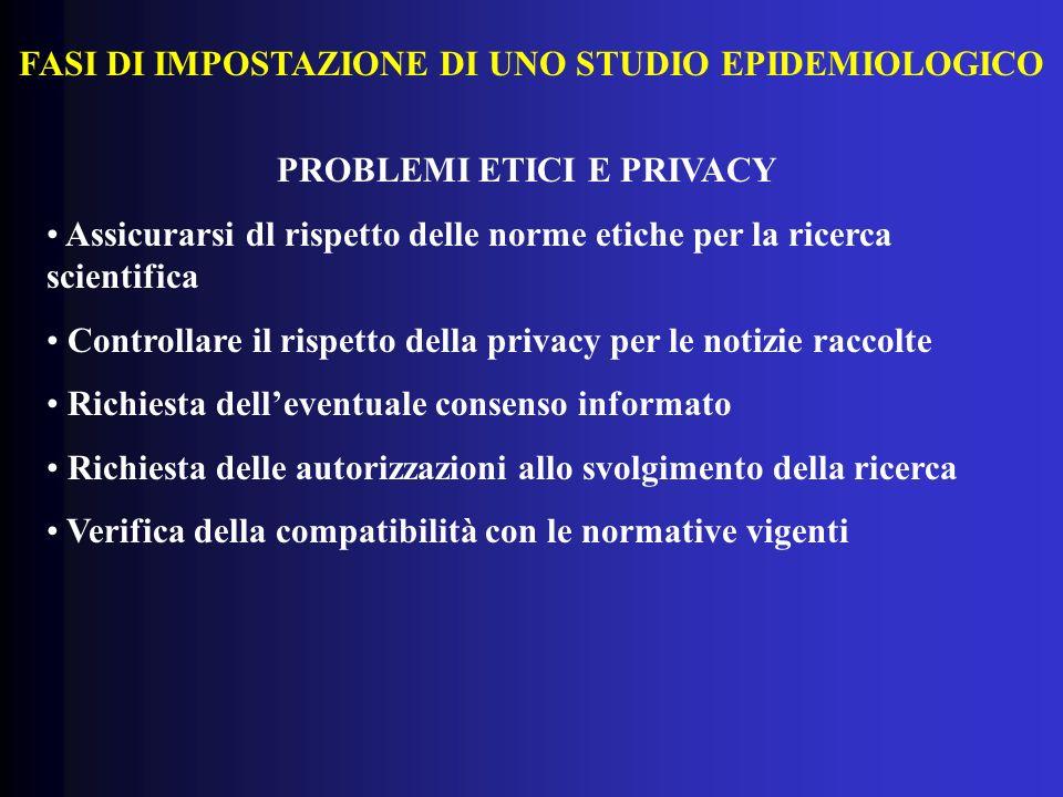 FASI DI IMPOSTAZIONE DI UNO STUDIO EPIDEMIOLOGICO