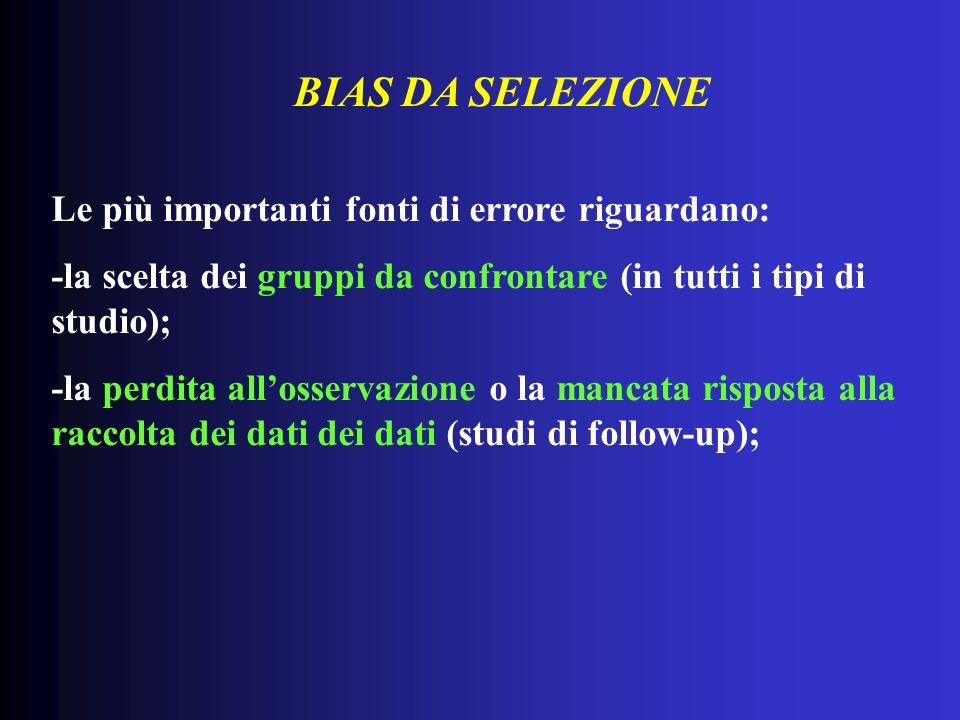 BIAS DA SELEZIONE Le più importanti fonti di errore riguardano: