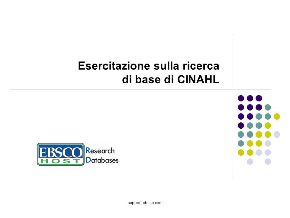 Esercitazione sulla ricerca di base di CINAHL