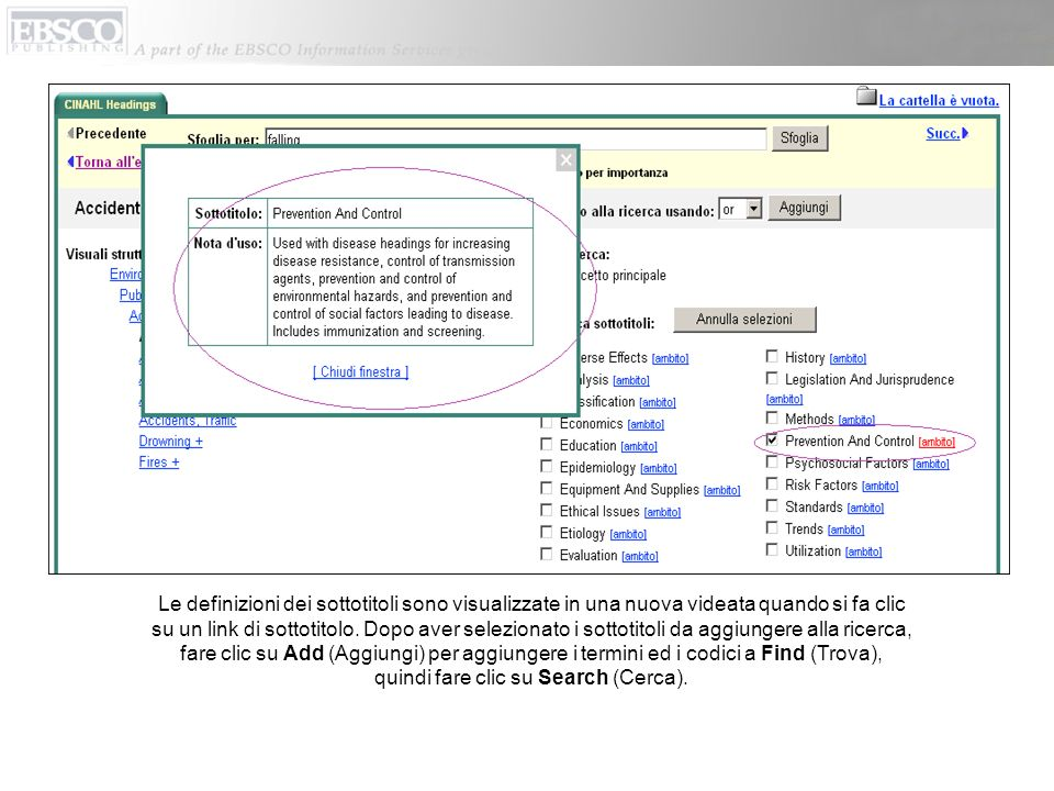 Le definizioni dei sottotitoli sono visualizzate in una nuova videata quando si fa clic su un link di sottotitolo.
