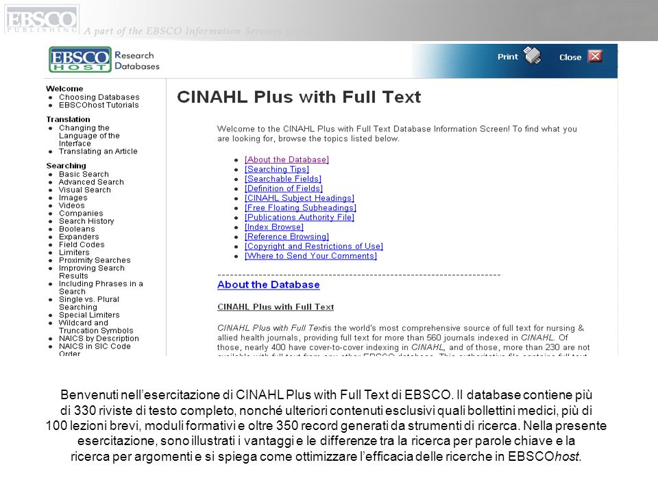 Benvenuti nell'esercitazione di CINAHL Plus with Full Text di EBSCO