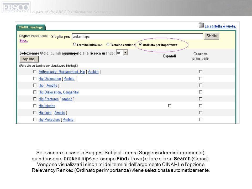 Selezionare la casella Suggest Subject Terms (Suggerisci termini argomento), quindi inserire broken hips nel campo Find (Trova) e fare clic su Search (Cerca).