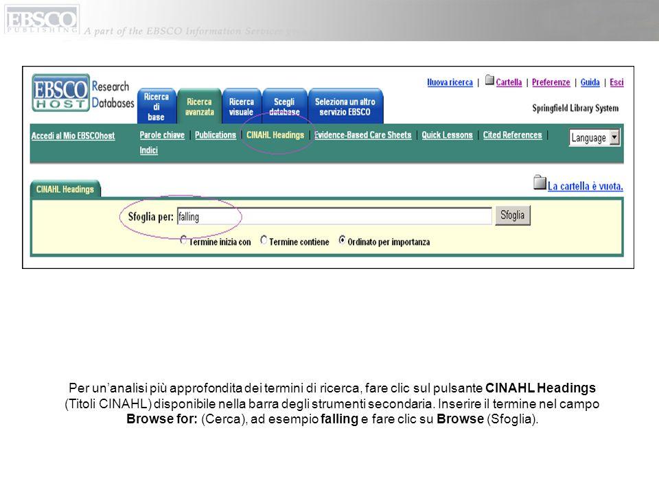 Per un'analisi più approfondita dei termini di ricerca, fare clic sul pulsante CINAHL Headings (Titoli CINAHL) disponibile nella barra degli strumenti secondaria.