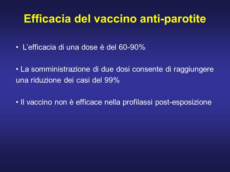Efficacia del vaccino anti-parotite