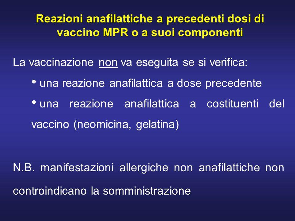 Reazioni anafilattiche a precedenti dosi di vaccino MPR o a suoi componenti