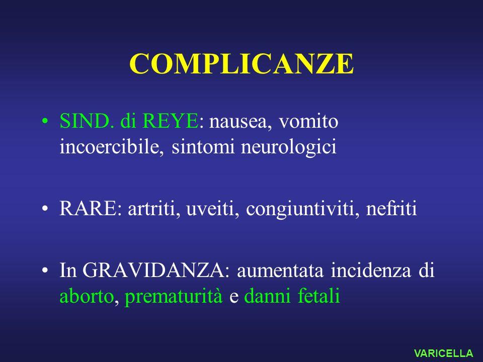 COMPLICANZE SIND. di REYE: nausea, vomito incoercibile, sintomi neurologici. RARE: artriti, uveiti, congiuntiviti, nefriti.