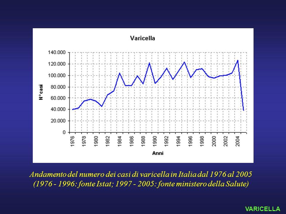 Andamento del numero dei casi di varicella in Italia dal 1976 al 2005