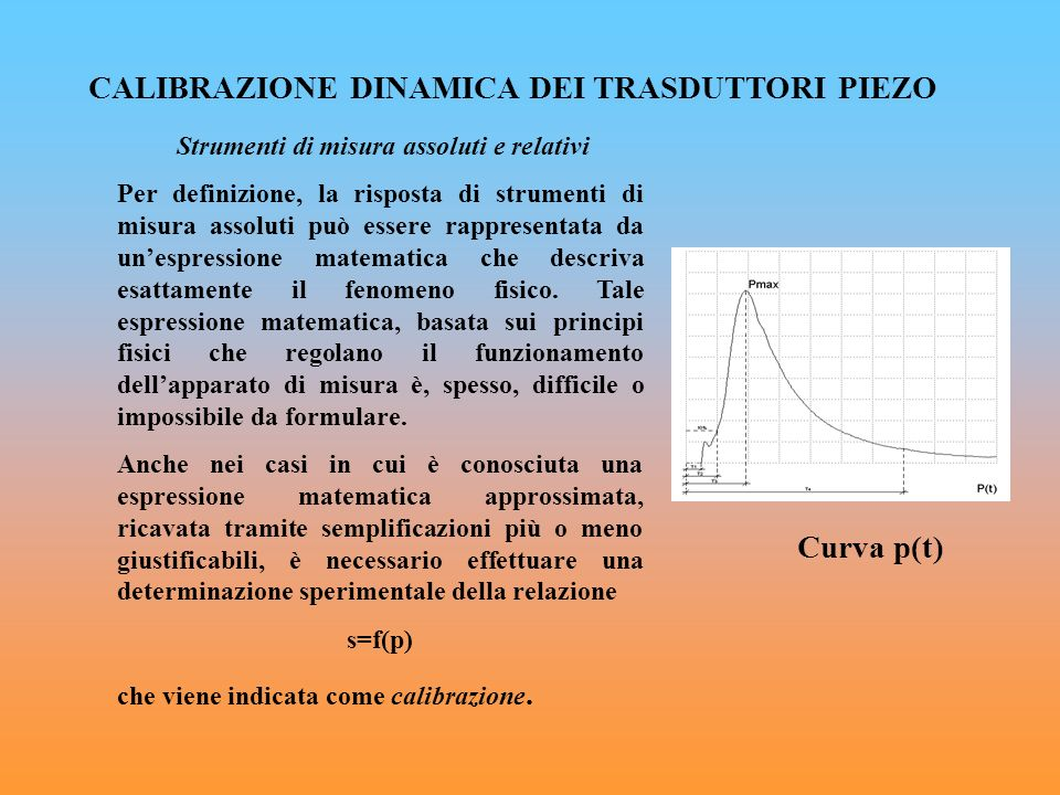 CALIBRAZIONE DINAMICA DEI TRASDUTTORI PIEZO Curva p(t)