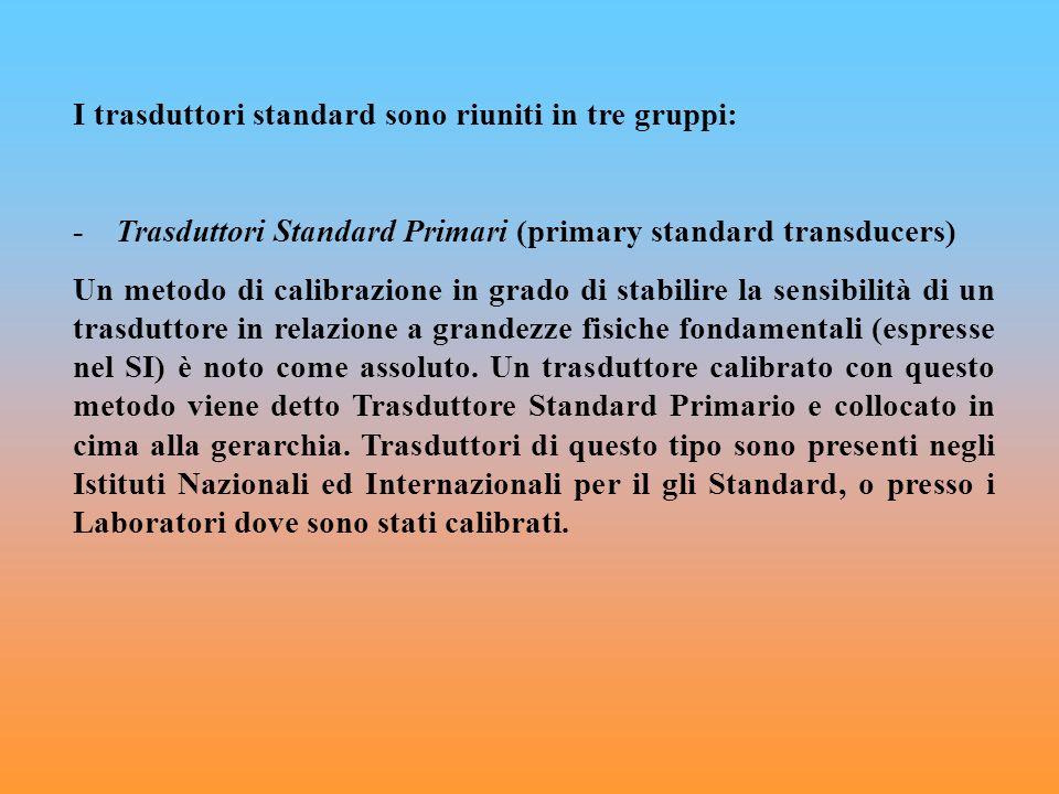 I trasduttori standard sono riuniti in tre gruppi: