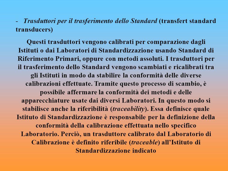- Trasduttori per il trasferimento dello Standard (transfert standard transducers)