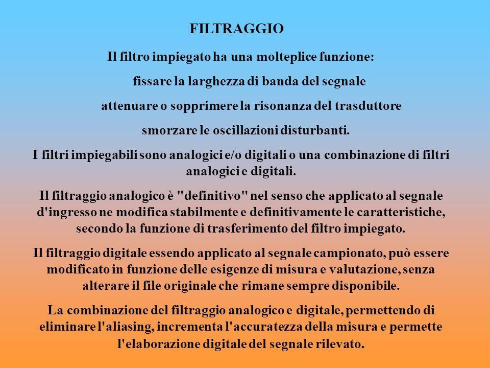 FILTRAGGIO Il filtro impiegato ha una molteplice funzione: