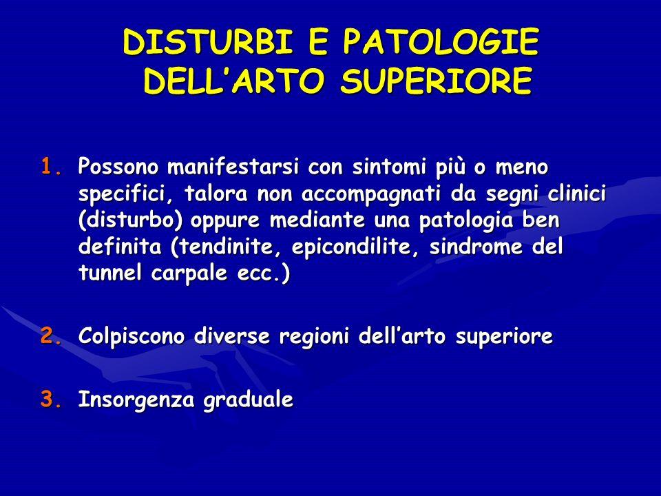 DISTURBI E PATOLOGIE DELL'ARTO SUPERIORE