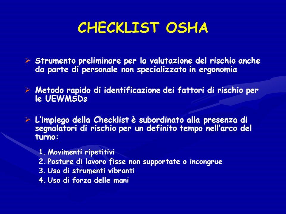 CHECKLIST OSHA Strumento preliminare per la valutazione del rischio anche da parte di personale non specializzato in ergonomia.