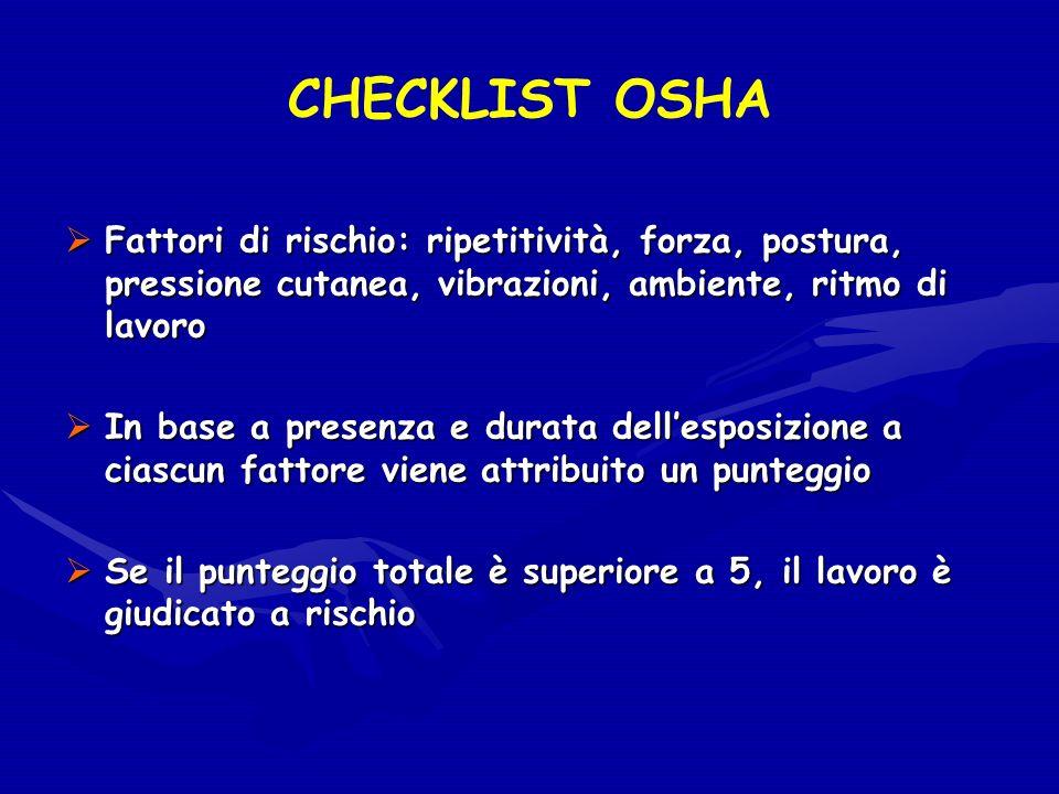 CHECKLIST OSHA Fattori di rischio: ripetitività, forza, postura, pressione cutanea, vibrazioni, ambiente, ritmo di lavoro.