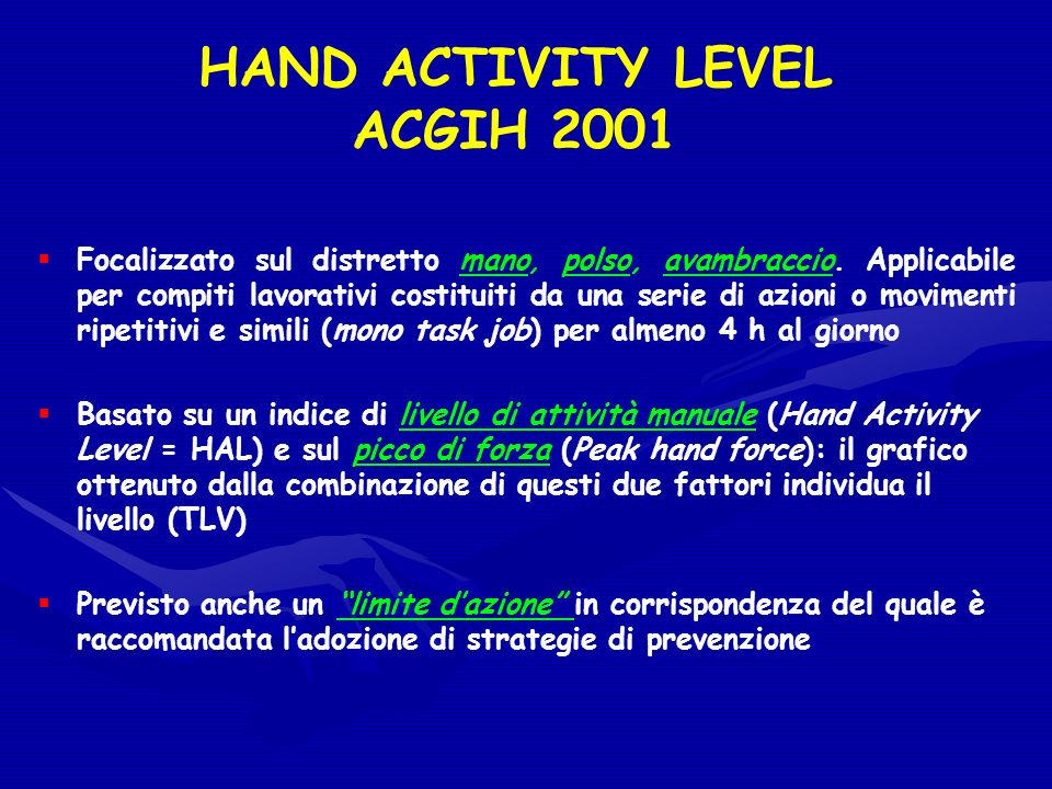 HAND ACTIVITY LEVEL ACGIH 2001