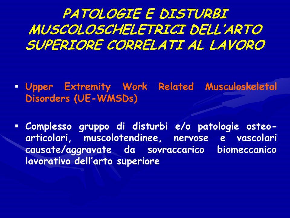 PATOLOGIE E DISTURBI MUSCOLOSCHELETRICI DELL'ARTO SUPERIORE CORRELATI AL LAVORO