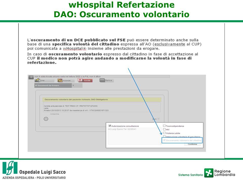 wHospital Refertazione DAO: Oscuramento volontario