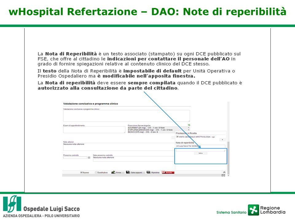 wHospital Refertazione – DAO: Note di reperibilità