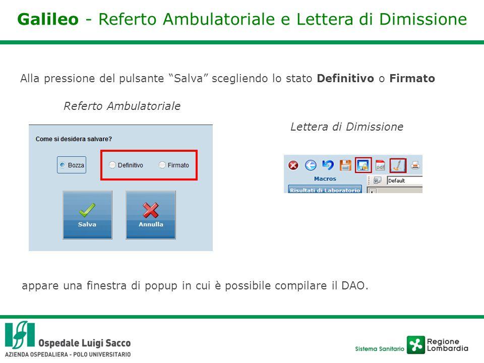 Galileo - Referto Ambulatoriale e Lettera di Dimissione