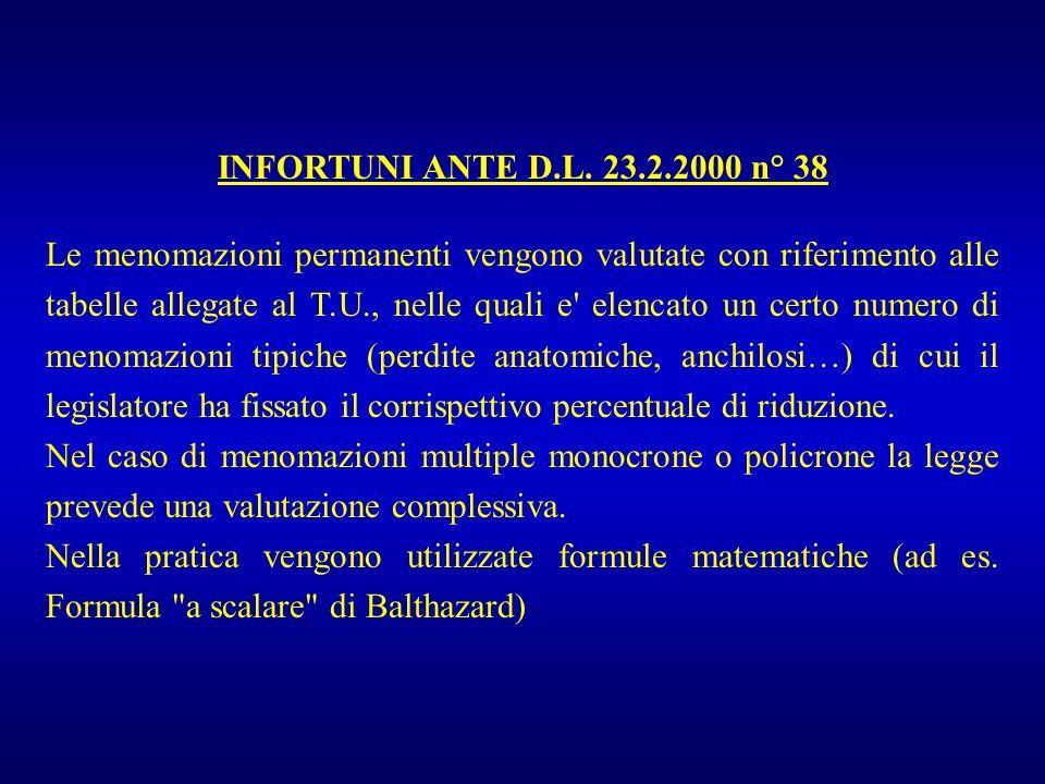 INFORTUNI ANTE D.L. 23.2.2000 n° 38