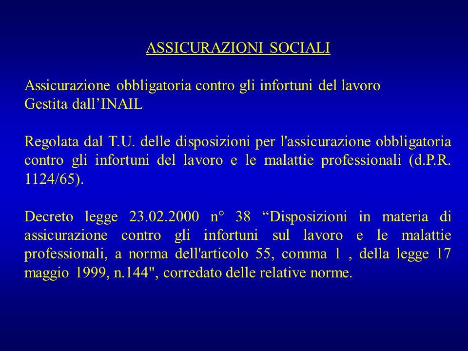 ASSICURAZIONI SOCIALI