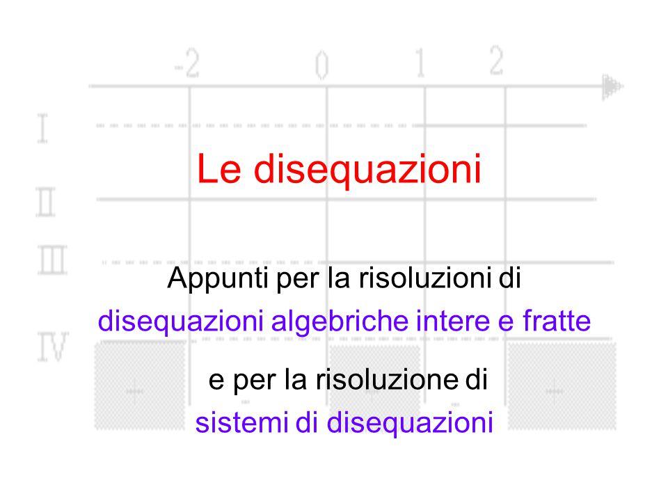 Le disequazioni Appunti per la risoluzioni di