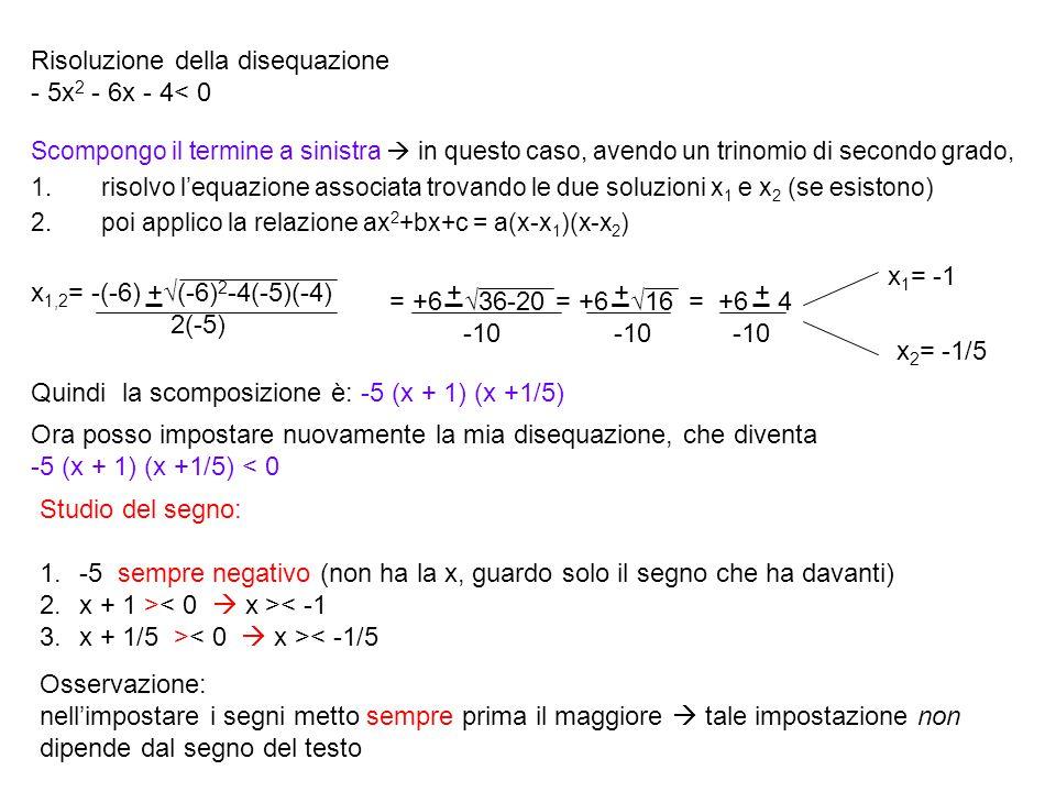 Risoluzione della disequazione - 5x2 - 6x - 4< 0