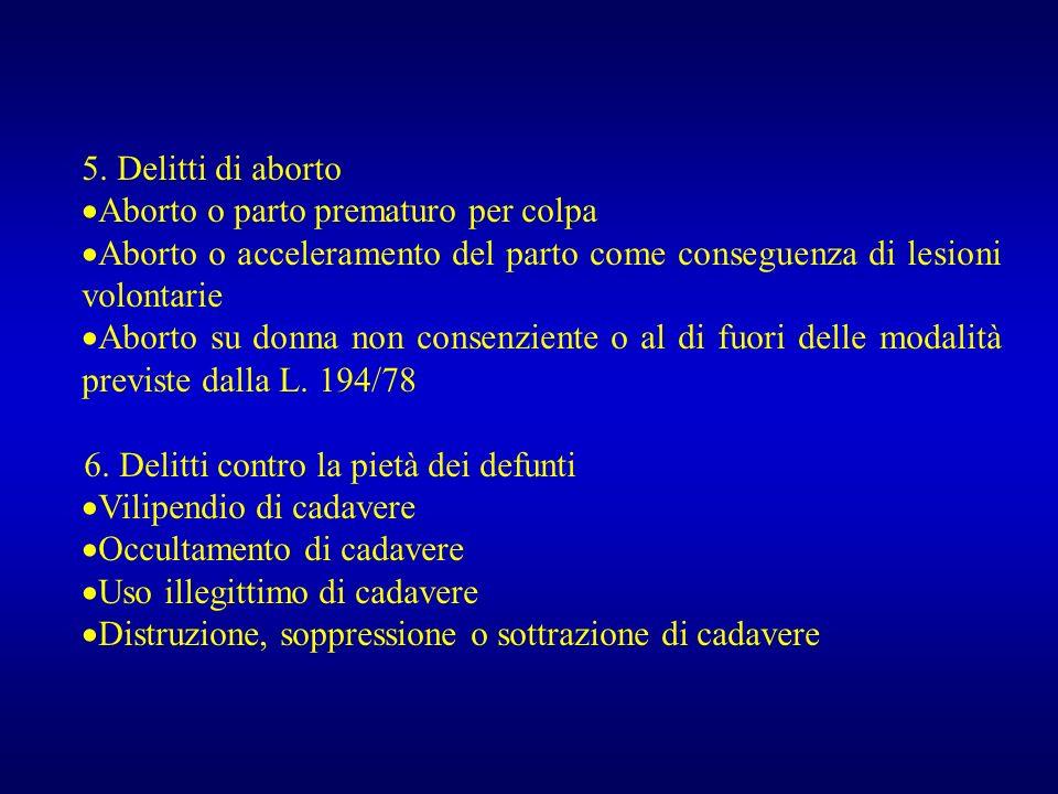 5. Delitti di aborto Aborto o parto prematuro per colpa. Aborto o acceleramento del parto come conseguenza di lesioni volontarie.