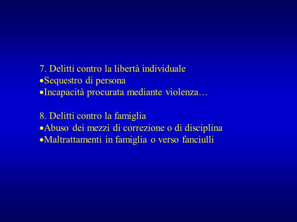 7. Delitti contro la libertà individuale
