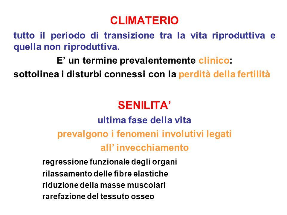 CLIMATERIO tutto il periodo di transizione tra la vita riproduttiva e quella non riproduttiva. E' un termine prevalentemente clinico: