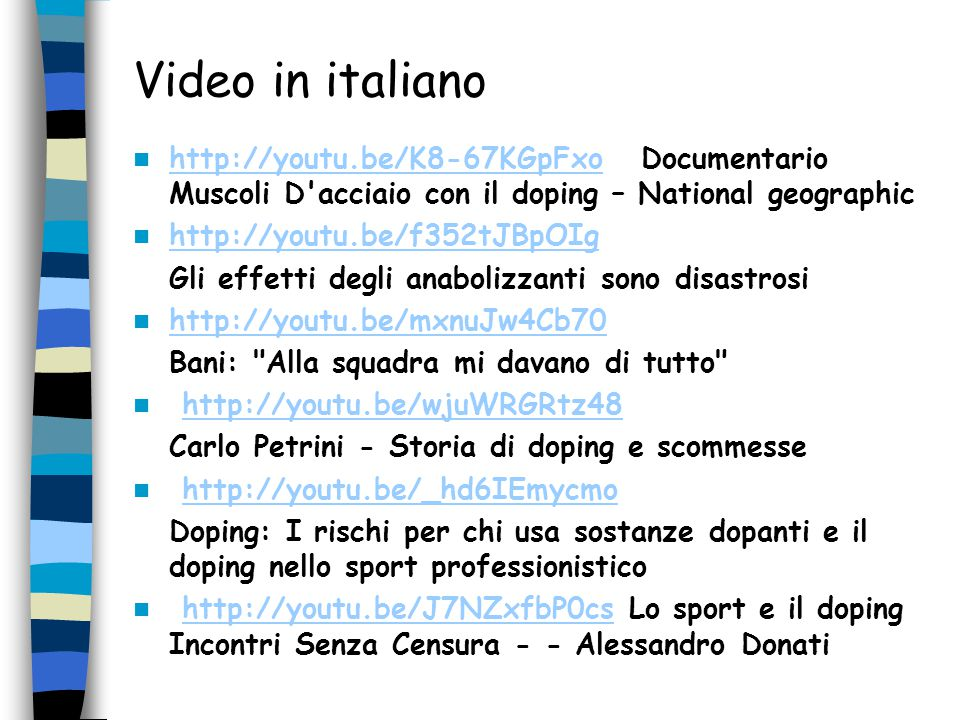 Video in italiano http://youtu.be/K8-67KGpFxo Documentario Muscoli D acciaio con il doping – National geographic.